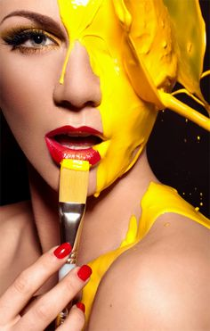 Yellow | Giallo | Jaune | Amarillo | Gul | Geel | Amarelo | イエロー | Kiiro | Colour | Texture | Style | Form | Pattern | Paint | Splash | Face ~Imagine having a bucket of paint chucked onto you. The feel of it trickling down your face and through your hair..Then seeing yourself in the mirror and this vibrant yellow just stands out in its simple beauty..The way it flows, the way it is