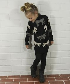 Black Horse Sweater Dress - Toddler & Girls