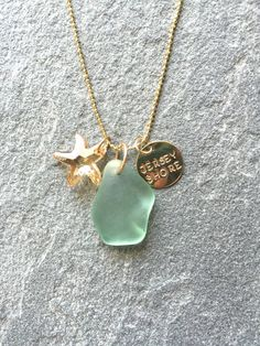 New Jersey Shore Natural Aqua Sea Glass Necklace by CABANA109