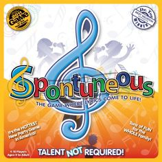"""Spontuneous Family Party Board Game - The Game Where Lyrics Come to Life! Made in the USA You hear a word and a song pops into your head. For example: Can you think of a song with the word """"Mountain"""" in the lyrics? How about """"Cowboy"""" or """"Stop""""? Sing it or shout it; voice or no voice, Talent is NOT Required!"""