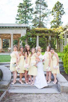 a bride and her girls #bridesmaids #yellow #weddingchicks http://www.weddingchicks.com/2014/03/19/seaside-manor-wedding/