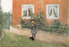 Carl Larsson - Brita,a Cat and a Sandwich, Watercolor, 1898