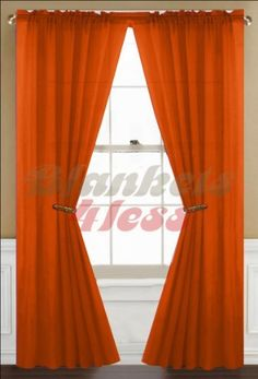 "Orange Solid 4 Panels Voile Sheer Window Curtain by Awad. $25.55. Rod Pocket Fits Rod Size 1 ½ Inch. Material: Polyester. Each Panel Size: 57""Wx84""L - 4 Panels. Note: Listing is for 4 Panel only, No Rod etc Included.. Washing Care: Machine Wash in cold water, gentle cycle, do not bleach, tumble dry. Beautiful Solid Color 4pc Sheer Window Curtain Panel. Listing is for 2 Panel only, No Rod etc Included."
