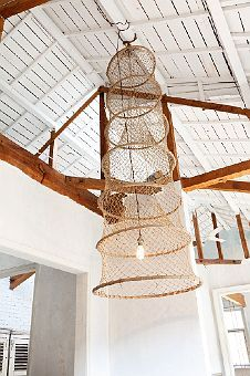 cool fishing net turned lampshade