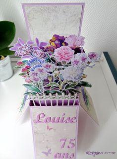 Autre vue carte box pop-up pour l'anniversaire d'une amatrice de fleurs... Détail sur le blog. Bonne visite. Maryann Scrap