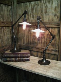 Pair of Vintage Industrial Articulating Arm by OldFactoryArtifacts Desk Lamp, Table Lamp, Vintage Industrial Decor, Lamp Ideas, White Flats, Work Lights, Lamp Light, Lamps, Arm
