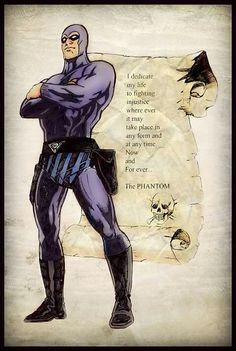 """He made a promise to take care of someone he loves. He's normal by day, but in the presence of evil, The Rider takes over."" The Phantom - Ghost Who Walks Comic Book Characters, Comic Book Heroes, Comic Character, Comic Books Art, Comic Art, Tarzan, Dc Comics, Phantom Comics, Charlton Comics"