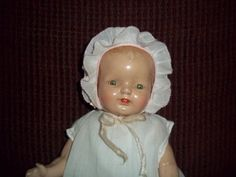 c.1930s Compo/Cloth Baby Doll,Factory Original Horsman from ~ TIMELESS PIECE ANTIQUES ~ found @Doll Shops United http://www.dollshopsunited.com/stores/timeless/items/1301638/c1930s-Compo-Cloth-Baby-DollFactory-Original-Horsman #dollshopsunited