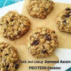 Thick and Chewy Oatmeal Raisin Protein Cookies 1 cup rolled oats 1/2 cup FlapJacked Protein Pancake Mix (buttermilk flavor) 1/4 cup packed brown sugar 1/4 cup melted coconut oil 2 tbsp honey 1 egg 1/2 tsp vanilla extract 1/2 cup raisins