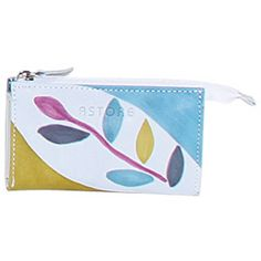 Natural leather sachet key holder, handpainted. 2 compartments and a key ring inside.Perfect idea for a present or simply match it to your Acquerello handbag. Colors pink yellow light blue and grey and pattern branch.