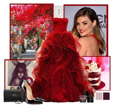 """Lucy Hale"" by rfultrastars ❤ liked on Polyvore featuring GUESS, Christian Louboutin, Jewel Exclusive, Butter London, Illamasqua, Bare Escentuals, PrettyLittleLiars, pll, reddress and LucyHale"