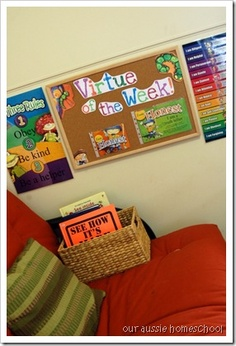 Love her Virtue wall! What a great way to display the virtue of the week.