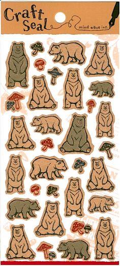 Kawaii Polar Bear Japanese Kraft Paper Sticker - Planner - scrapbooking - journal - package. by niconecozakkaya on Etsy