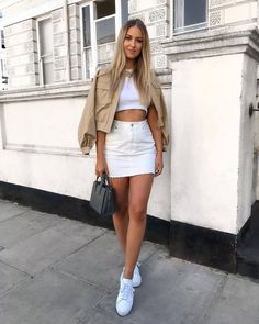 There is 1 tip to buy shoes sneakers white sneakers mini skirt jacket crop tops handbag. White Skirt Outfits, White Denim Skirt, White Skirts, Mini Skirts, Cute Summer Outfits, Cute Casual Outfits, Stylish Outfits, Fall Fashion Outfits, Mode Outfits