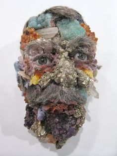 David Altmejd, crystals, face, surreal, old man, growth, evolution, figurative