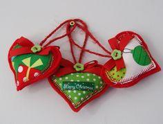 Christmas heart decorations. £4.95, via Etsy.