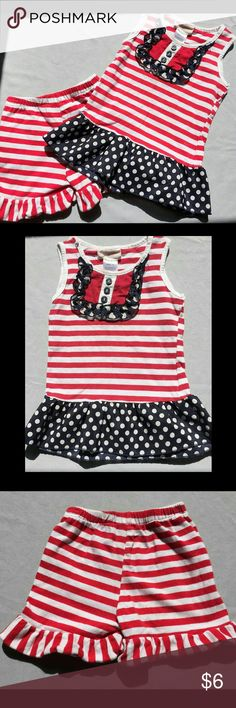 Fourth of July shorts and tank top outfit 24 month Red white and blue tank top and ruffle shorts outfit for 24 months. Small tears under left armpit and on right shoulder (as pictured) barely noticeable. Other than that in great condition. Not over worn. Adorable outfit for Memorial Day or Fourth of July! kash Matching Sets