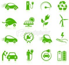 Electric car Environmental Icons Collection Royalty Free Stock Vector Art Illustration