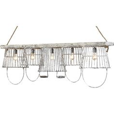 Illuminate your dining room or den in farmhouse-chic style with this eye-catching chandelier, showcasing an arrangement of vintaged wire baskets.