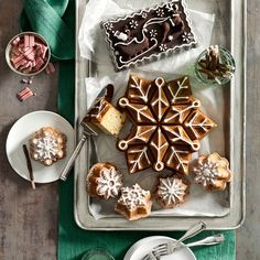 Nordicware Snowflake Pull-Apart Cake Pan--makes a cake that has cut lines you may even be able to use to pull the cake apart. Pricey and very season-specific, but really gorgeous!