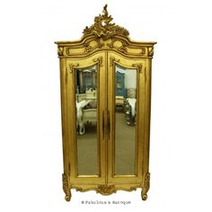 Emmanuelle 2 Door Mirrored Armoire - Gold Leaf