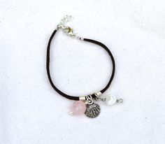 Items similar to Soft Suede Bracelet With Rose Quartz, Pearl, and Seashell Charm on Etsy Suede Bracelet, Soft Suede, Handmade Bracelets, Rose Quartz, Sea Shells, Jewelery, Beading, Charmed, Pearls