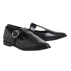 Buy Black Croc Office Patience T Bar Flats from OFFICE.co.uk.