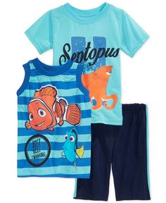 Nannette takes the fun under the sea with this darling three-piece tank, T-shirt, and shorts set for little boys, featuring his favorite fish friends from Finding Nemo. | Polyester | Machine washable