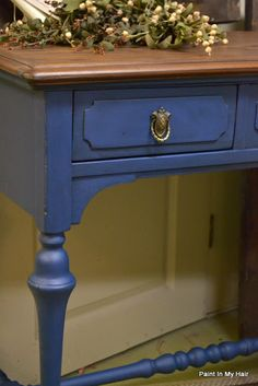Painted in Annie Sloan Chalk Paint Napoleonic Blue with both Clear and Dark Soft Wax applied. ~ Paint in my hair: Before and After! 5/1 ~ furniture refinish repurpose