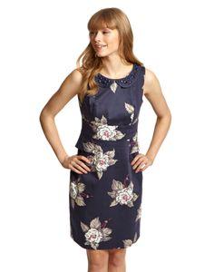 Womens Peplum Dress Navy Bloom via Joules