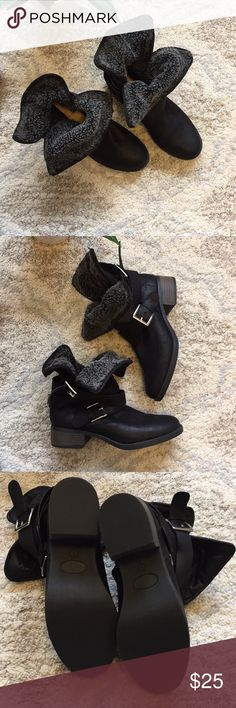 JustFab heeled boots size 7 Never been worn Fur collared boots.  Size 7 Shoes Ankle Boots & Booties