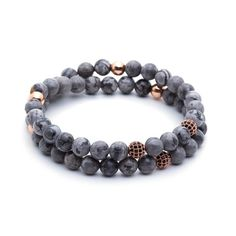 18kt.Rose Gold #Diamond Balls & Grey Jasper Double #Bead #Bracelet