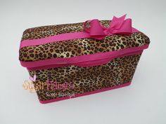 "Leopard Print Baby Wipes Tub (Hot Pink Version) Designer Fabric Covered. Jewel Bow (Made To Order) LTD EDITION ""Spice Up Your Wipes"" by SugarMamaShop (Sugar Mama's Sweet Bowtique)"