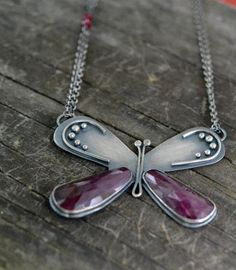 Hey, I found this really awesome Etsy listing at https://www.etsy.com/listing/229141600/noble-lacewing-butterfly-necklace-ruby