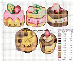 Free Kawaii Cupcakes Hama Perler Bead Pattern or Cross Stitch Chart Kawaii Cross Stitch, Cute Cross Stitch, Cross Stitch Charts, Cross Stitch Designs, Cross Stitch Patterns, Fuse Bead Patterns, Perler Patterns, Beading Patterns, Cross Stitching