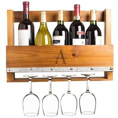 Cathy's Concepts Personalized Rustic Wall Wine Rack & Glass Holder (€88) ❤ liked on Polyvore featuring home, kitchen & dining, bar tools, a, wine glass rack, glass holder, wall mounted glass shelf and glass wall shelf