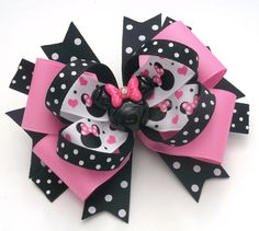 Mouse Head Handmade Boutique Hair Bow by JustinesBoutiqueBows
