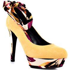 Michael Antonio  Lanelle  Mustard Suede Floral Heels