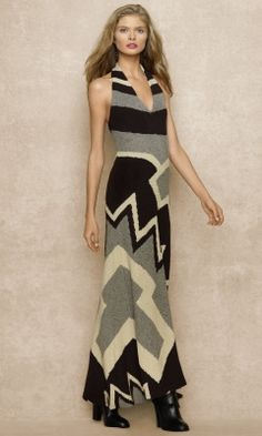 Love this!    Long Hand-Knit Halter Dress - Blue Label Evening Dresses - RalphLauren.com