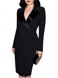 Fashion Suit Collar Long Sleeve Midi Pencil Work Dress Plus Size