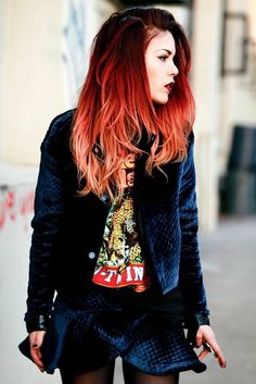 The Most Gorgeous Red Ombre Hair Ideas for Fiery Ladies - Bright Red Hair Ombre - Red Ombre Hair, Bright Red Hair, Ombre Hair Color, Cool Hair Color, Hair Colour, Dark Red Ombre, Light Ombre, Teal Ombre, Teal Hair