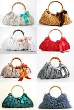 Knitted bags...@Sandra Pendle Pendle Pendle Pendle Vanderbeck Heyrich Krout - bet these could be made from sweaters!