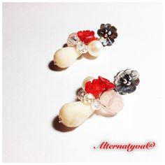 Aretes en Sterling silver, cristales, corales y perlas