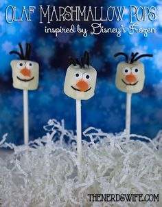 Olaf Marshmallow Pops Inspired by the lovable snowman in Disney's Frozen #DisneyFrozen