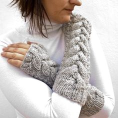 GREY cabled  fingerless gloves by homelab on Etsy, $39.00