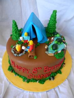 Camping Cake For A Backyard Birthday Party
