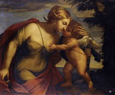 Venus and Cupid. 17th.century. Bolognese School. oil/canvas.
