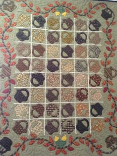 Basket Quilt with Appliqued Border Primitive Quilts, Antique Quilts, Vintage Quilts, Hand Applique, Machine Applique, Hand Quilting, Machine Quilting, Quilting Ideas, Small Quilts
