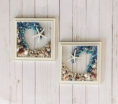 """SET OF TWO 8""""x 8"""" Beach Glass Wall and/or Window Art/Seashell Art/Resin Art/Unique Coastal Decor/Beach House Decor/Great Christmas Gift  Handmade in South Carolina with high quality materials (seashells, crushed glass, finger starfish) and secured with care. The design is bonded (not glued) to glass Nautical Wall Art, Coastal Wall Art, Coastal Decor, Handmade Christmas Gifts, Great Christmas Gifts, Great Gifts, Crushed Glass, Seashell Art, Sea Glass Art"""