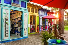 Colorful gallery shops in Gulf Place in #SantaRosaBeach. #SouthWalton #Florida